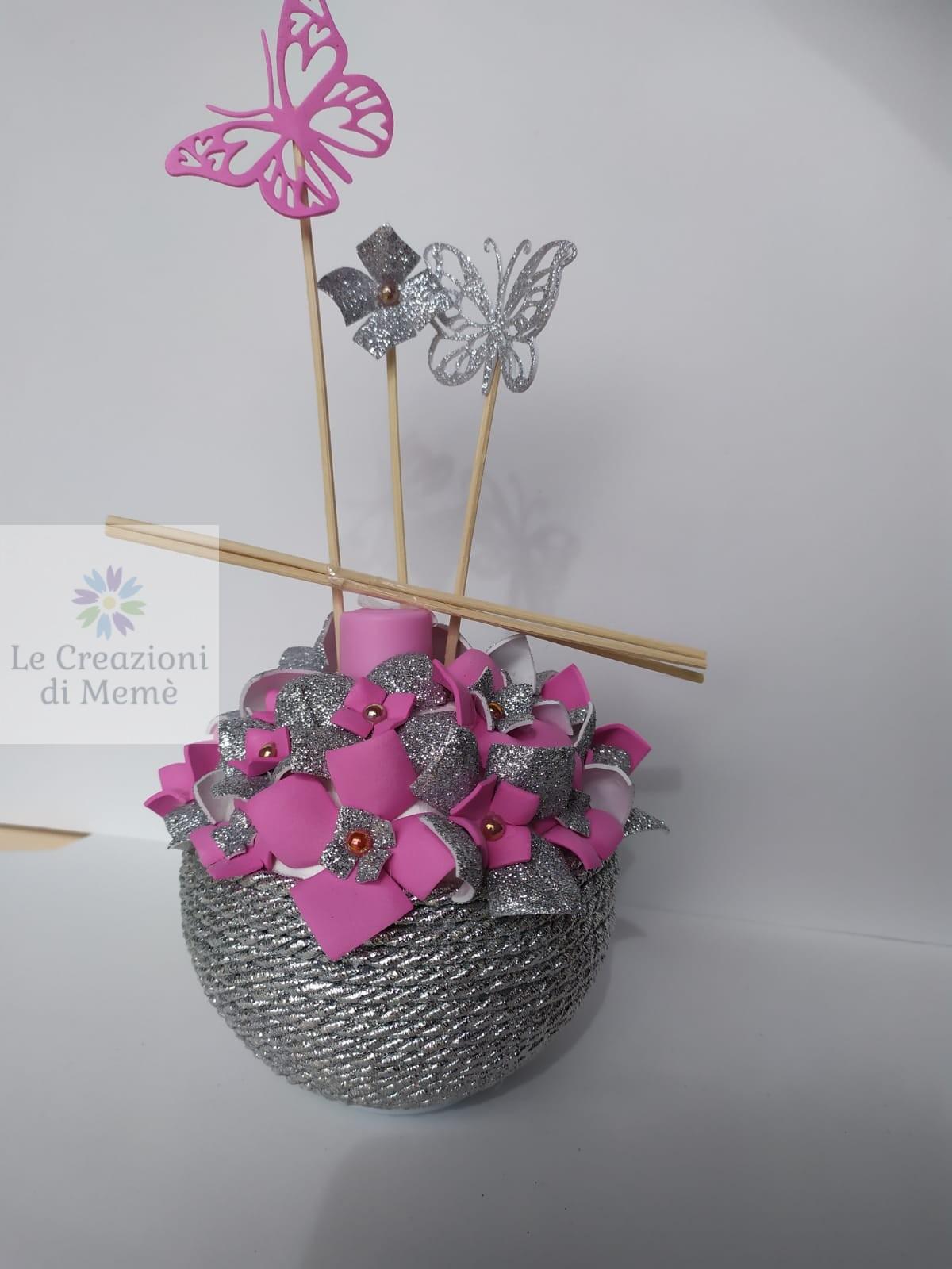 Porta profumatore grigio glitterato e rosa
