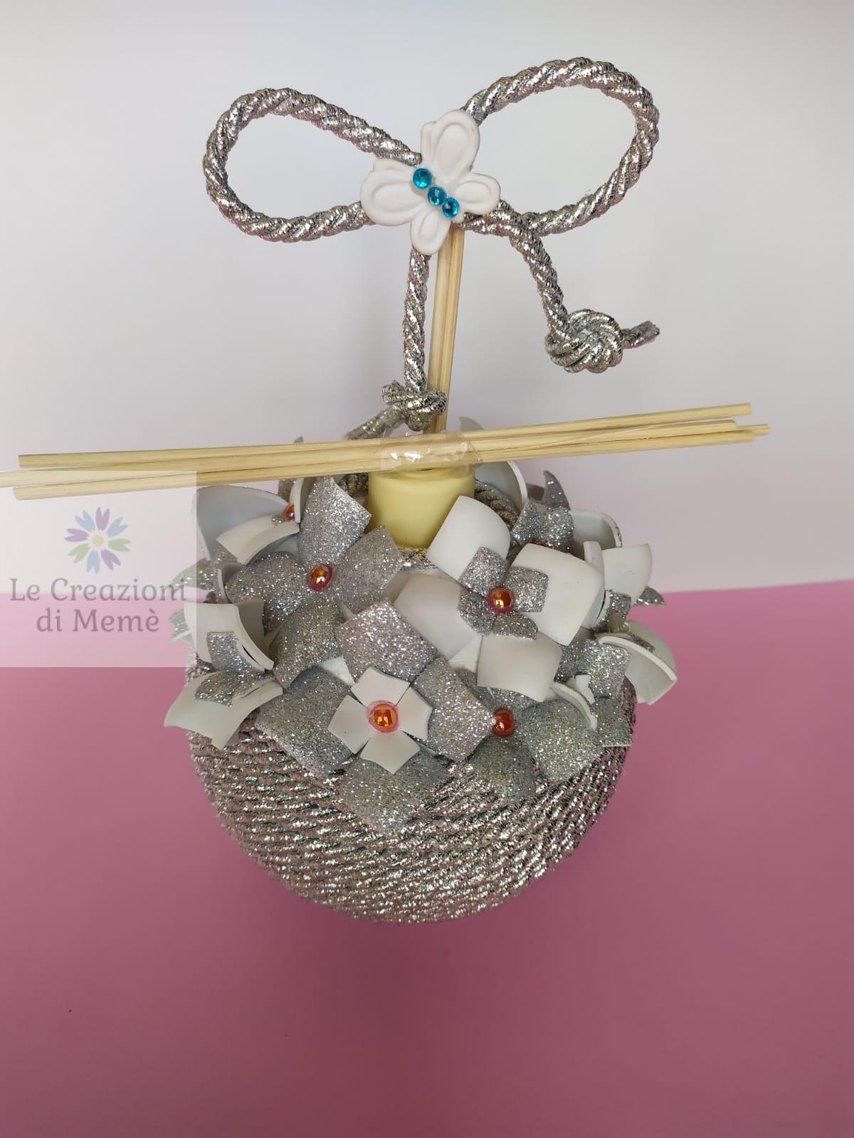 Porta profumatore grigio glitterato e bianco