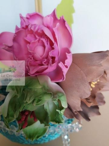 Porta profumatore con rose in fommy seta