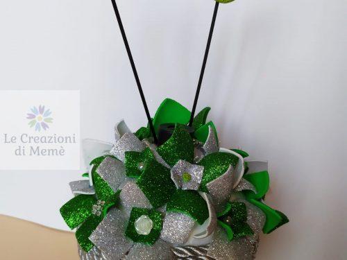 Porta profumatore con tema floreale grigio glitterato e verde