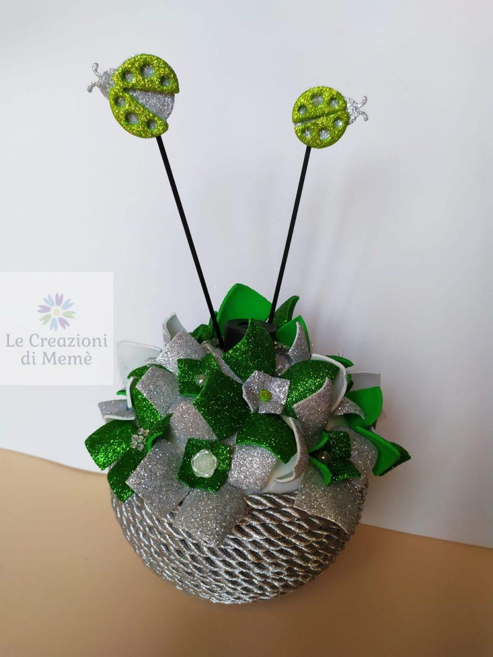 Porta profumatore grigio glitterato e verde