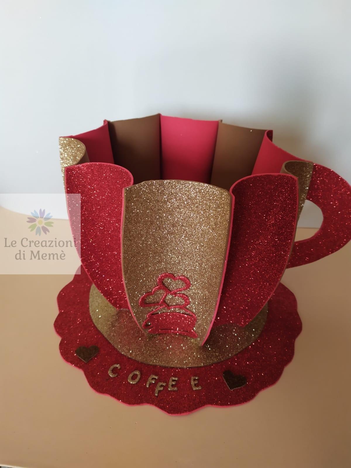 Tazzona bicolore rossa e cappuccino