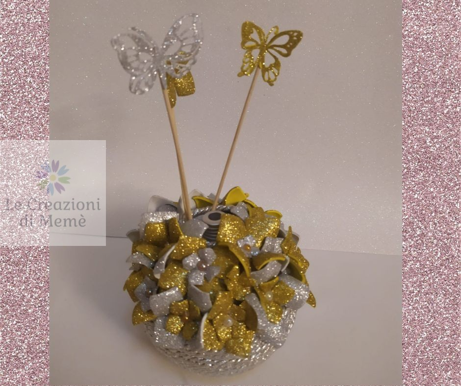Porta profumatore per ambiente tema floreale argento oro