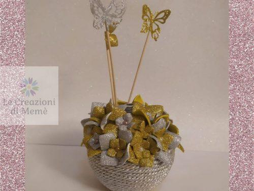 Porta profumatore per ambiente con tema floreale argento e oro