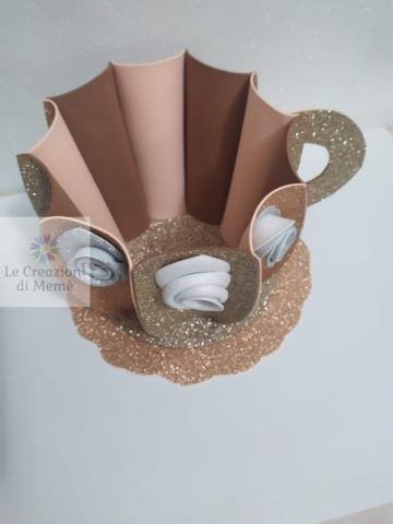 Tazza porta cialde rosa antico e cappuccino